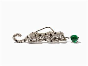 Cartier, Panther Brooch with Diamonds & Emerald, 18K
