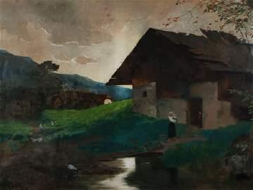 "Theodor Heyser (1857-1921), Village landscape"", Oil,"