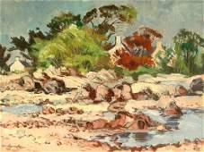 "Oil Painting, ""Coast of Jersey"", Richard Sprick,"