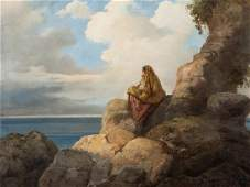 Vincenzo Cabianca, Country Girl on Rocks, Oil,