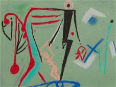 Dietrich Lusici, Chalk Drawing, Abstract Figures,