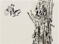Sergio Dangelo Untitled Studies Ink Drawing