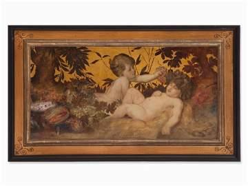 Karl Zadnik, Oil Painting, Bacchants, Czechia/Austria,