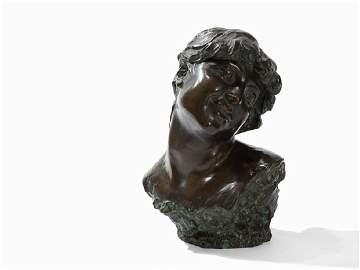 Jef Lambeaux, Bust of a Young Woman, Bronze Figure,