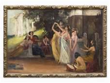 W. Ernst, Oil Painting, Dancing Ladies, Germany, c.