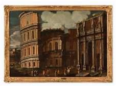 Capriccio with the Colosseum, Oil, Italian School, 17th