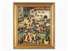 Herbert Gurschner (1901-1975), Market Day, Oil, c.