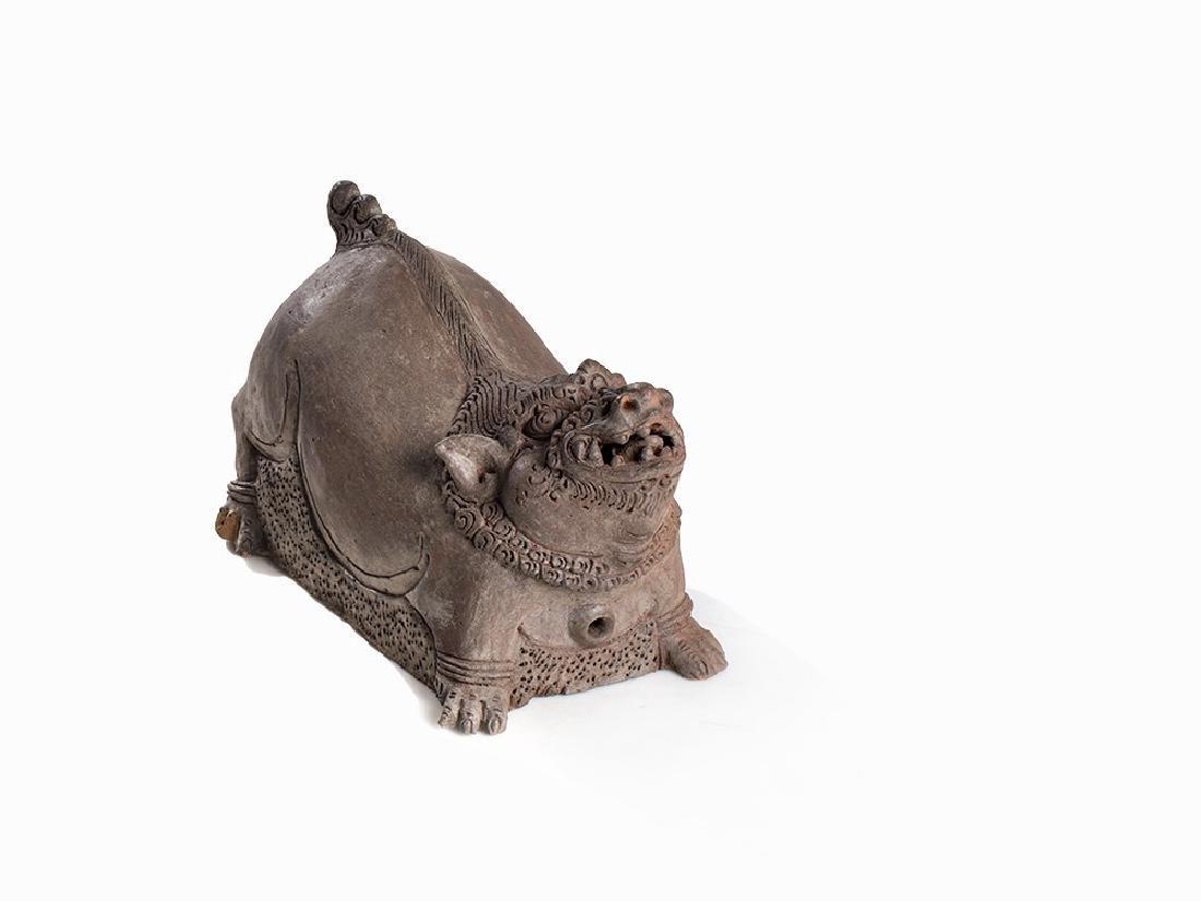 Tall Terracotta Figure, Mystical Beast, Majapahit,