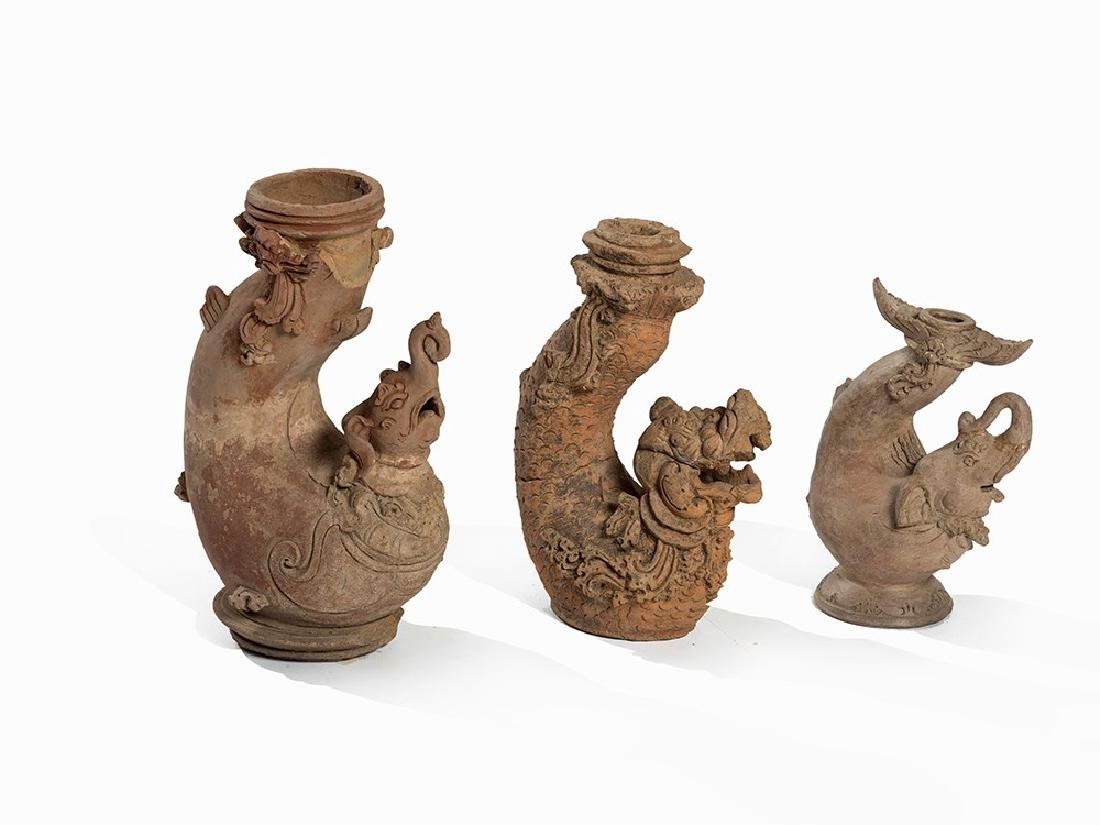 3 Terracotta Vessels 'Mythical Beasts', Majapahit,