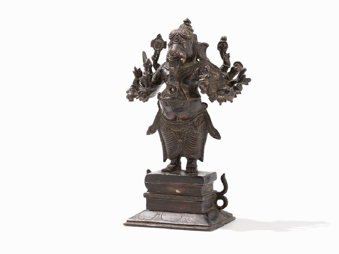 Standing Bronze Figure of Sixteen-Armed Ganesha, India,
