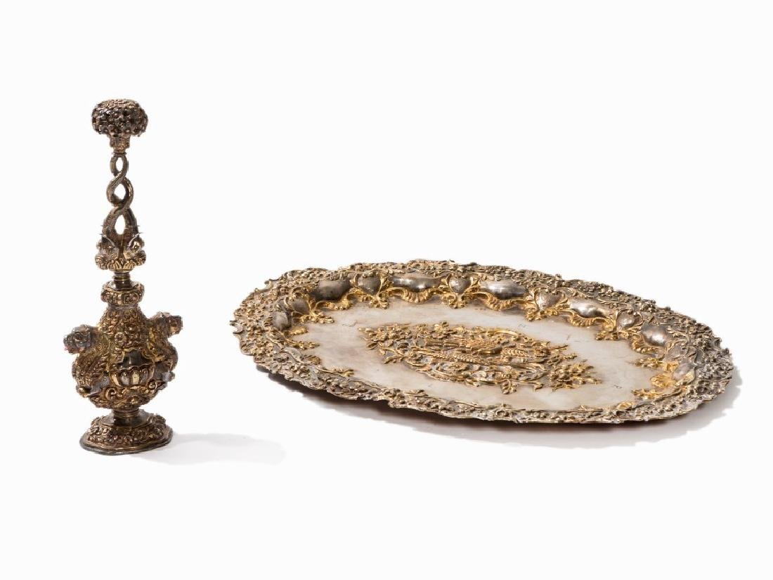 A Large Silver Rosewater Sprinkler with Tray, India,