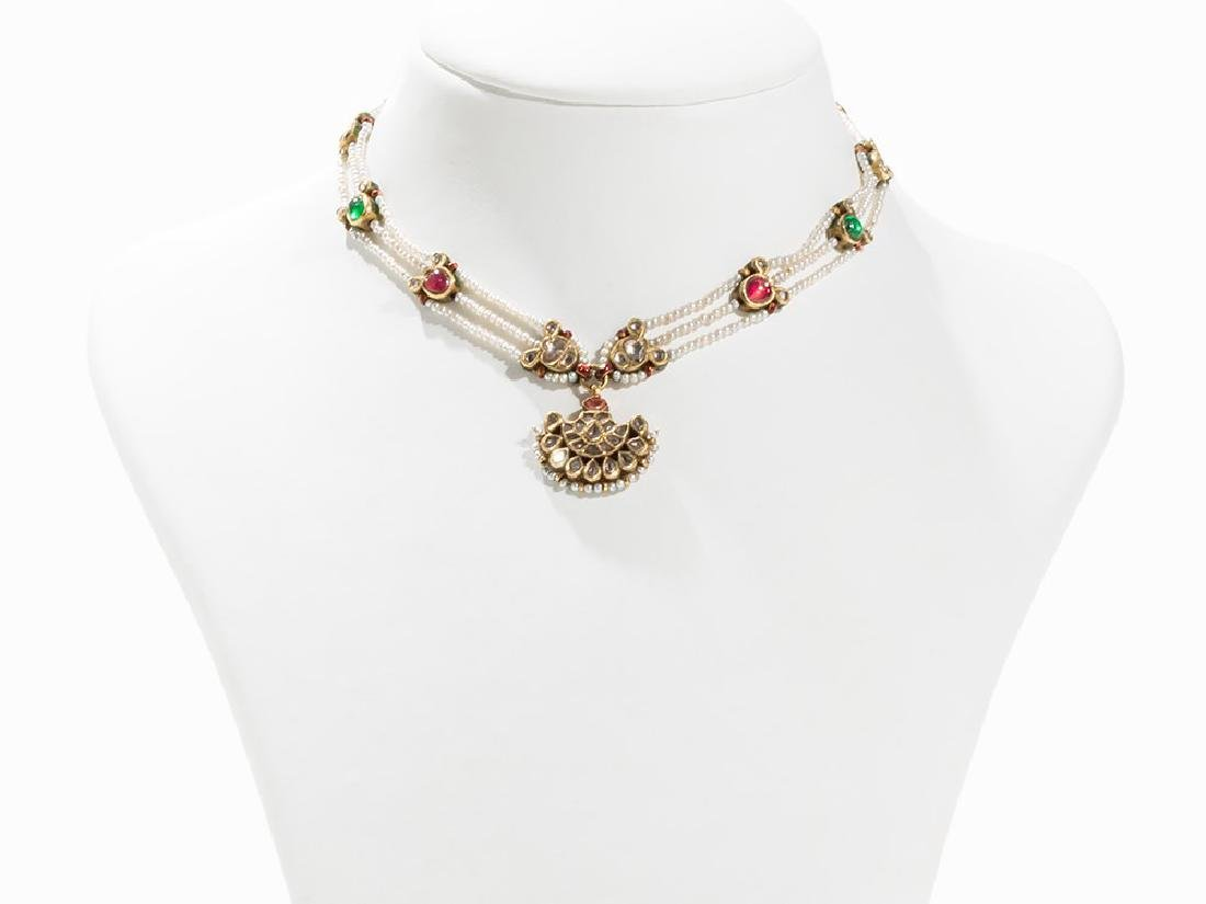 Mughal Pearl Necklace With Sickle-shaped Pendant, India