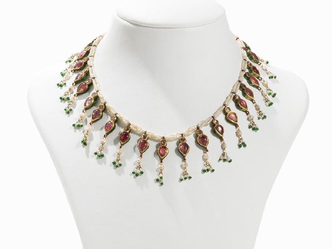 Mughal Necklace with Rubies, Diamonds and Pearls, 19th