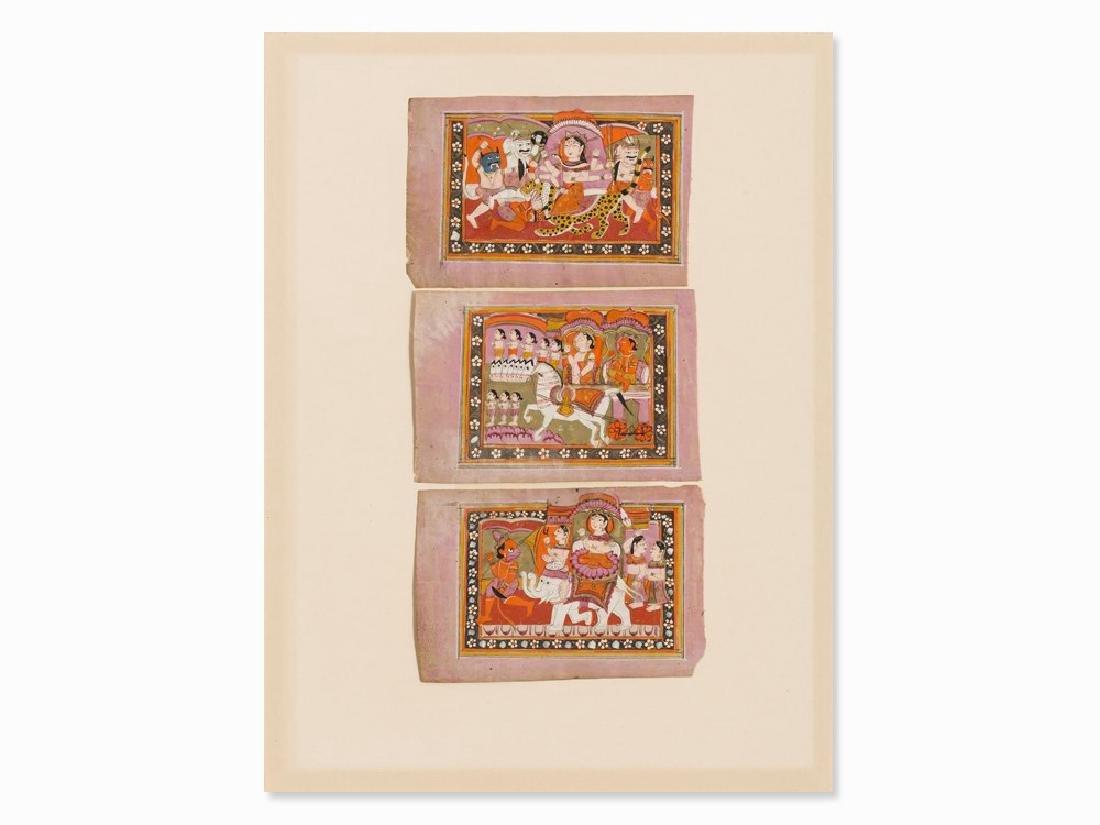 Three Miniature Paintings from Bhagavata Purana, India,