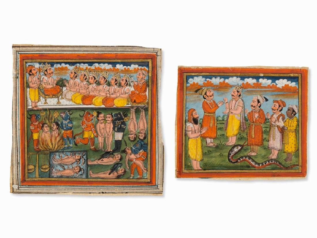 Two Miniature Paintings, Kings and Retainers, India,