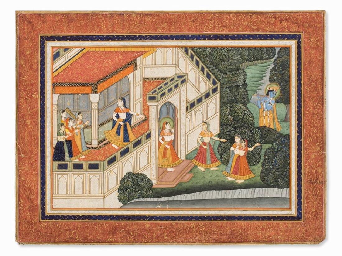 Miniature, Radha Listening to Krishna's Flute, India,
