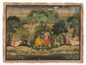 Painting, Krishna and Radha in a Forest Bower, late