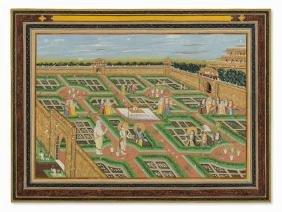 Balarama, Krishna & Rukmini in a Garden, Late 19th/20th