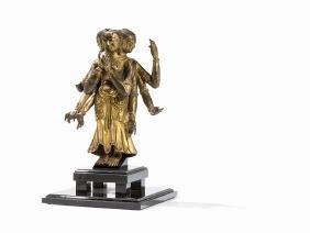 Gilt Repoussé Figure Avalokitesvara, Tibet, 17th/18th
