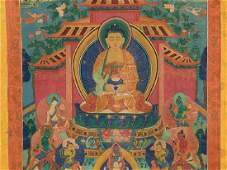 Thangka with Amitabha Buddha in Paradise 19th C