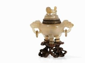 Tripod Agate Censer and Cover with Beast Handles, 18th
