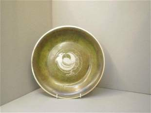 An unusual Arts & Crafts style shallow bowl, with v