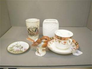 A Goebel robin, a Kaiser vase and a pin dish etc.