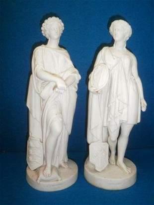 A pair of 19th Century Parianware figures impressed