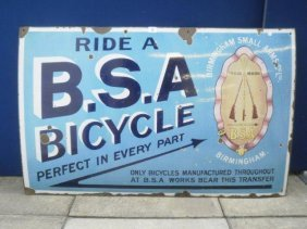 "A BSA Bicycle Part Pictorial Enamel Sign, 44 X 28""."