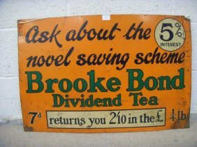 A Brooke Bond Dividend Tea Rectangular Tin Sign, Wi