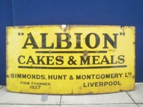 16: An Albion cakes and meals rectangular enamel sign,