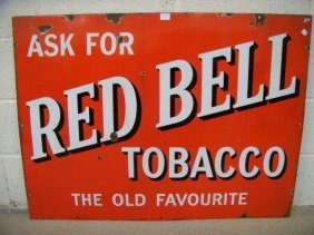 18: A Red Bell Tobacco rectangular enamel sign, 40 x 30