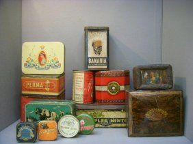 21: A selection of early tins including 'Banania', 'Bas