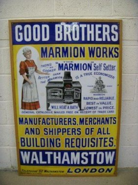 44: A Good Brothers Marmion Works pictorial enamel sign