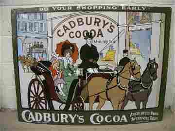 133: A rare Cadbury's Cocoa pictorial enamel sign, depi