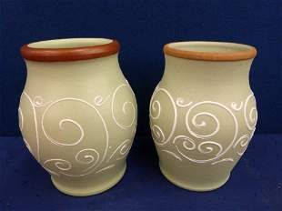 A pair of Denby stoneware vases.