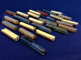 A selection of Dinky Toys miniature die-cast trains and