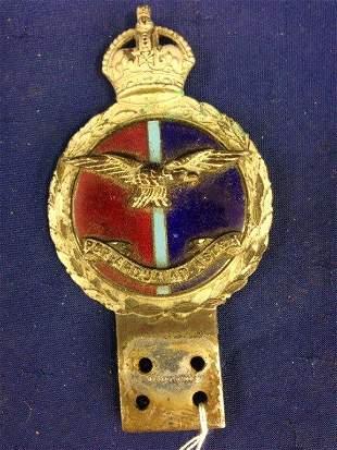 A Royal Flying Corps - J.R. Gaunt London car badge.