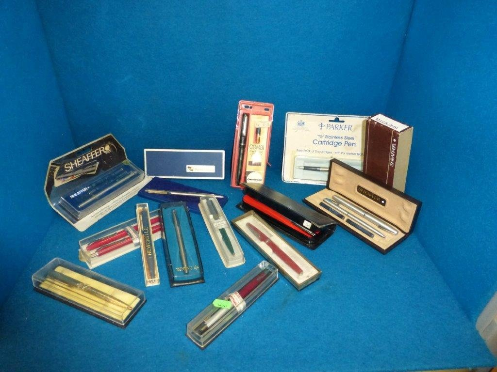 A selection of 1960s and 70s fountain pens, ball point