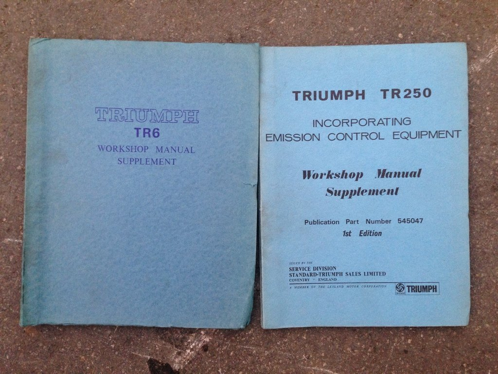 A Triumph TR250 workshop manual and one other.