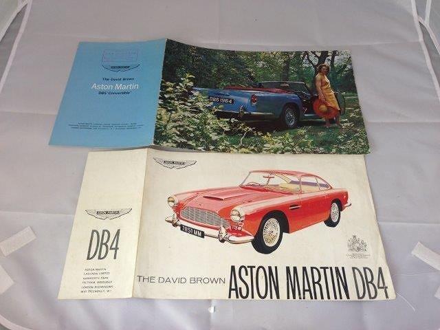 An Aston Martin DB4 Saloon sales leaflet and a DB5