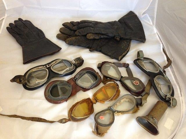 A collection of early motoring goggles and gauntlets