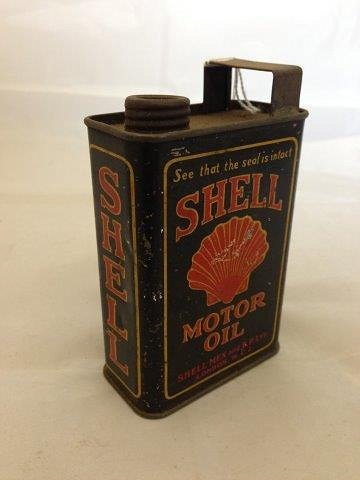 An early miniature Shell Motor Oil can, lacking cap.