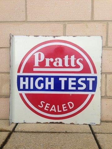 A Pratts Hi-Test Sealed double sided enamel sign with