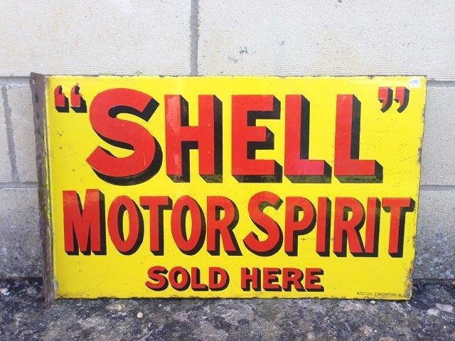 A Shell Motor Spirit Sold Here double sided enamel sign