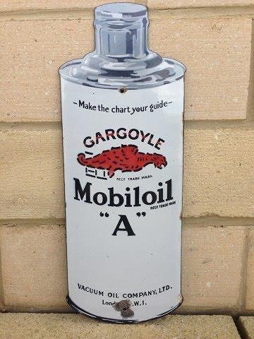 A rare Mobiloil Gargoyle bottle shaped enamel sign,