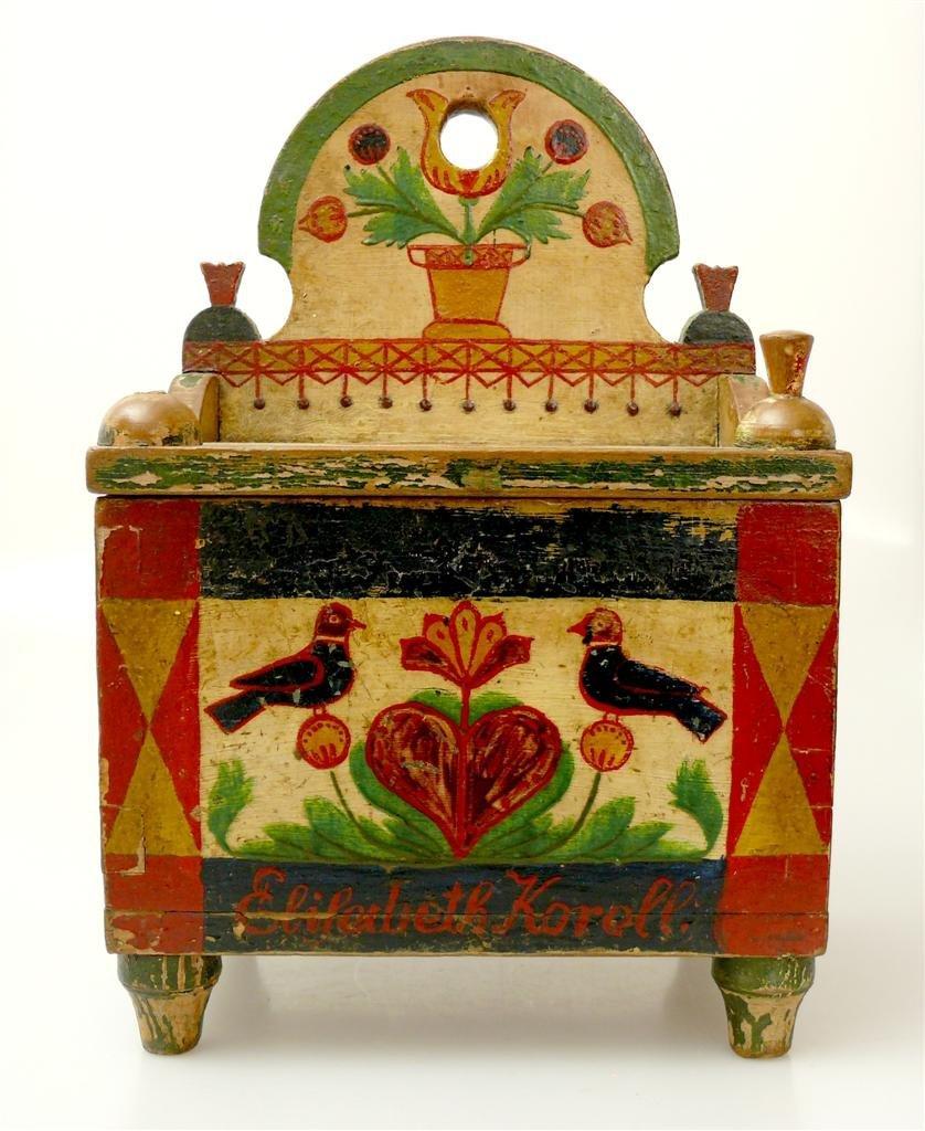 18: a wooden box. Around 1800.