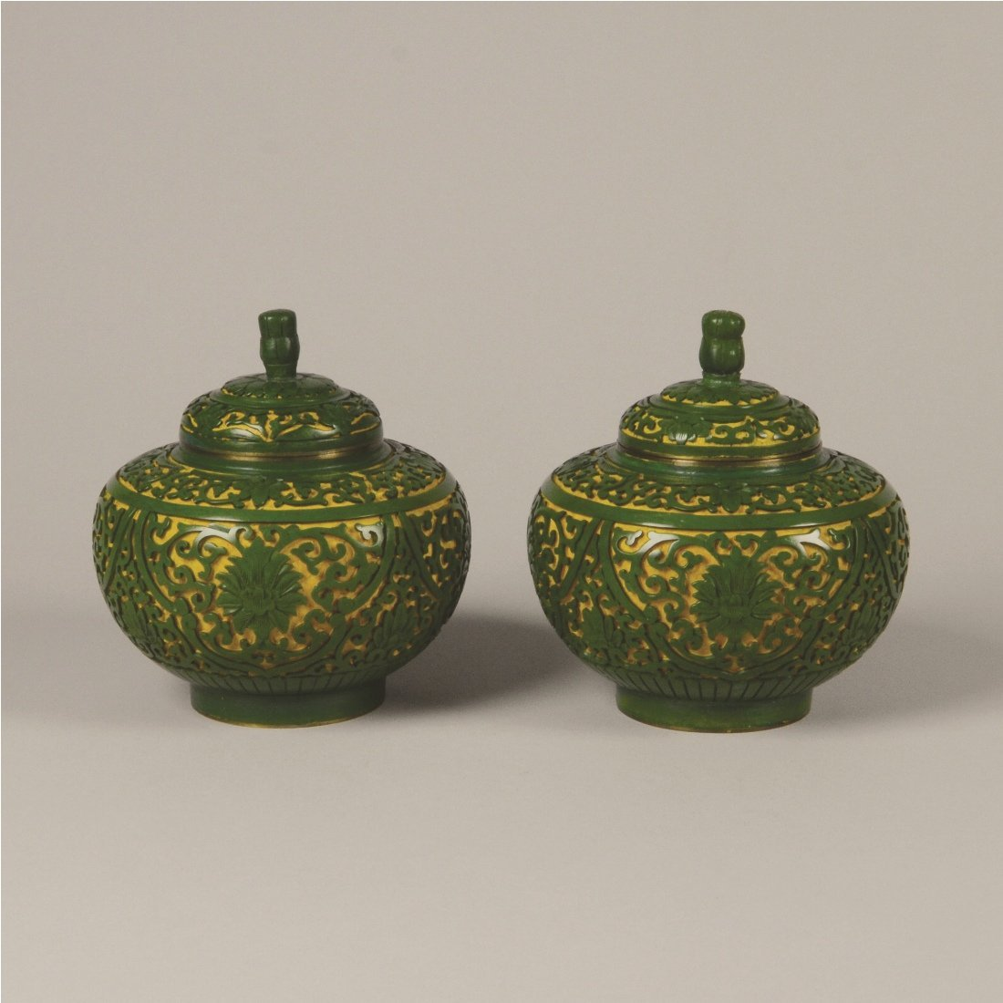 3: PAIR OF CARVED GREEN CINNABAR LACQUER JARS