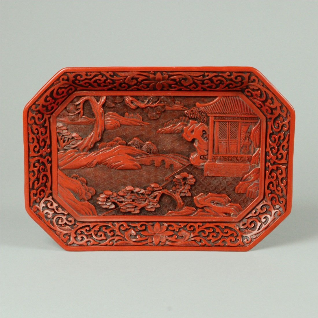 4: RED LACQUER ORNAMENTAL TRAY
