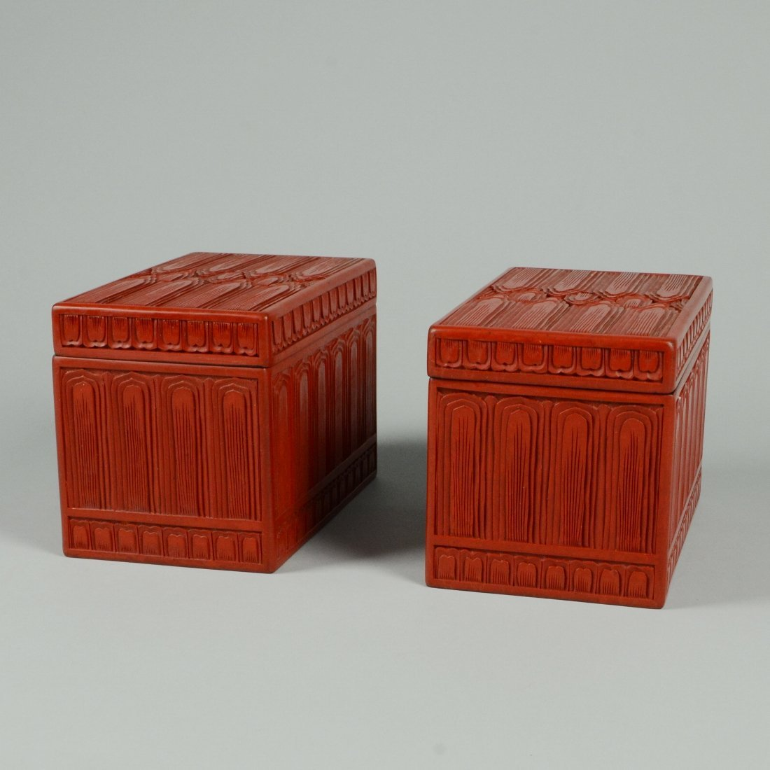 8: PAIR OF RED LACQUER BOXES